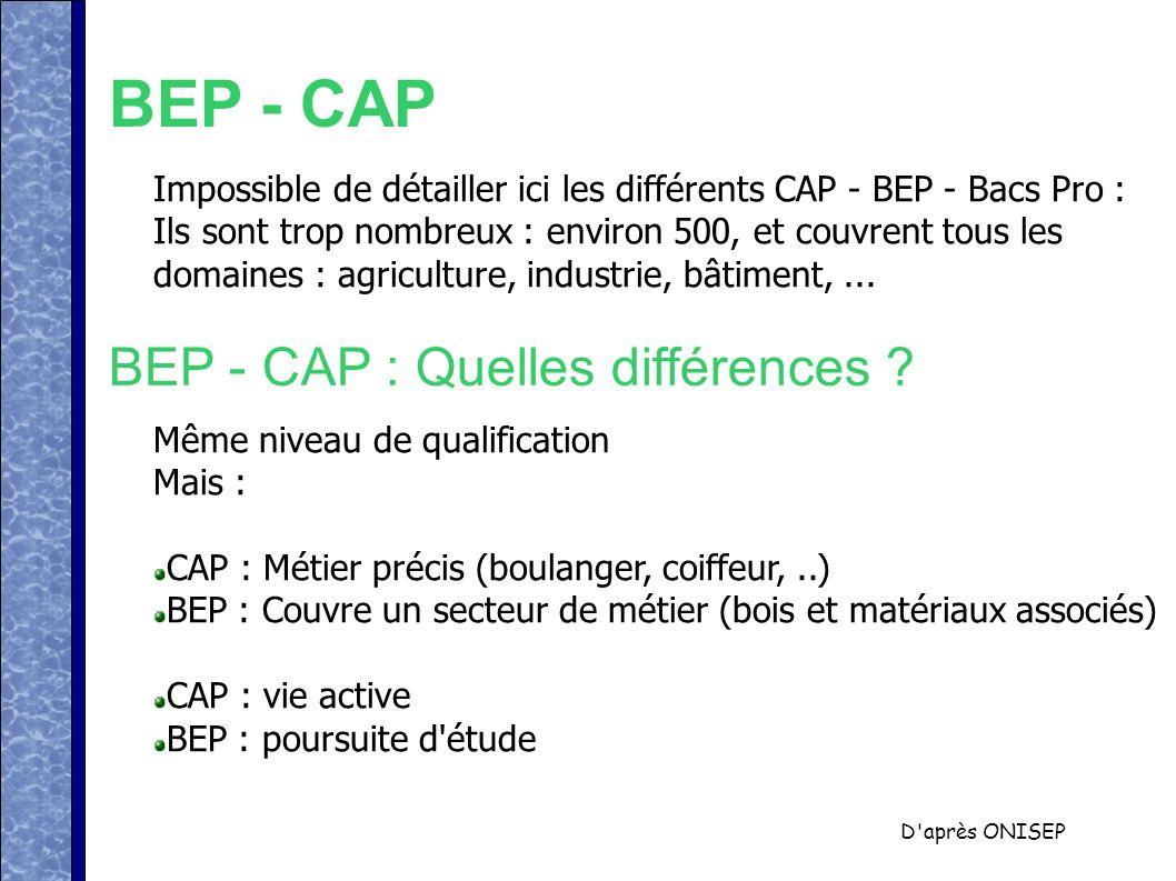 BEP - CAP BEP - CAP : Quelles différences