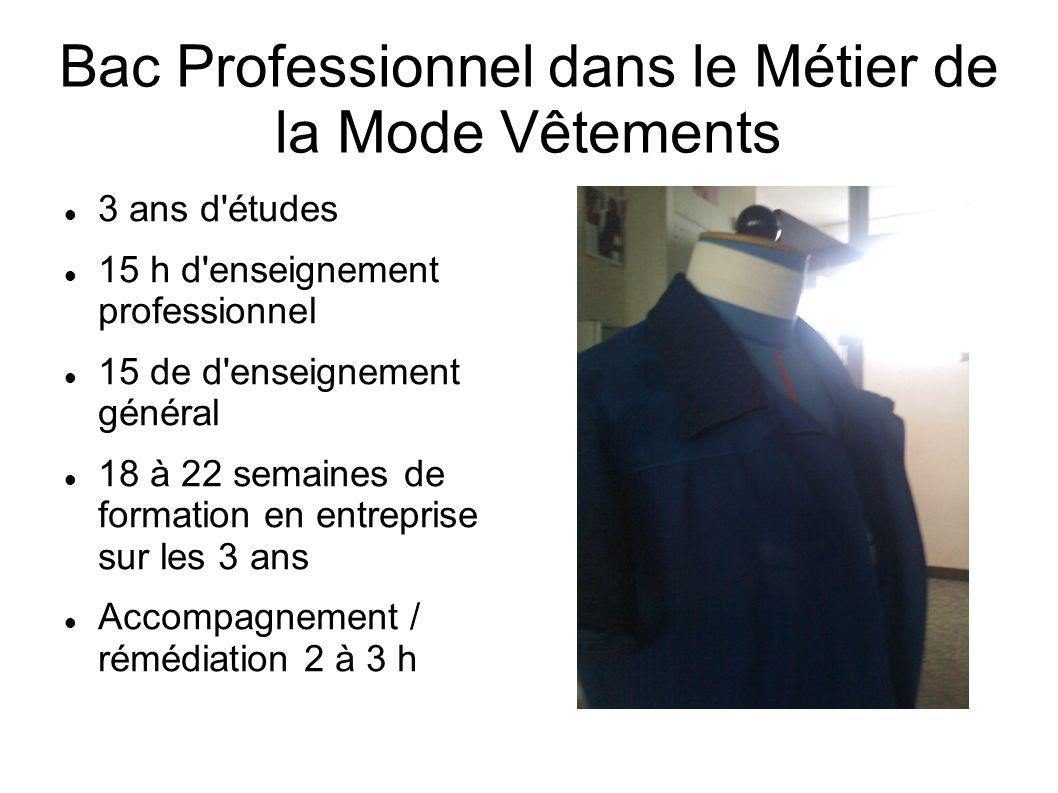 Bac Professionnel dans le Métier de la Mode Vêtements