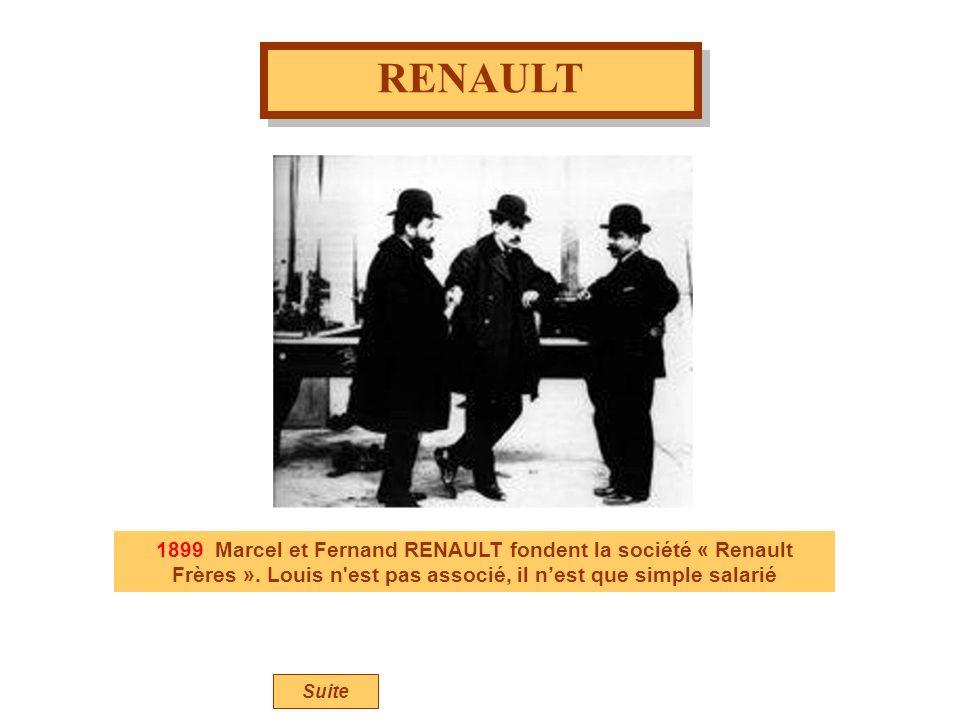 RENAULT 1899 Marcel et Fernand RENAULT fondent la société « Renault Frères ». Louis n est pas associé, il n'est que simple salarié.
