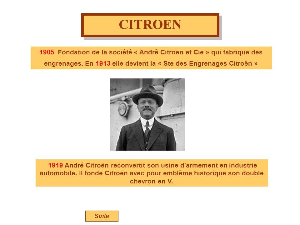 CITROEN 1905 Fondation de la société « André Citroën et Cie » qui fabrique des engrenages. En 1913 elle devient la « Ste des Engrenages Citroën »