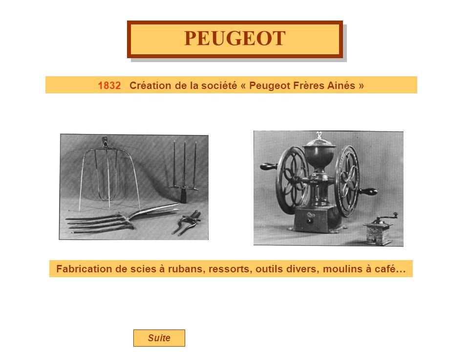 1832 Création de la société « Peugeot Frères Ainés »
