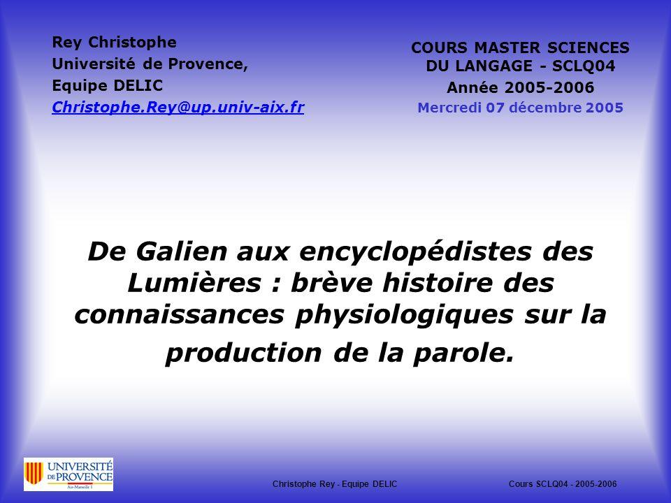 Rey Christophe Université de Provence, Equipe DELIC. Christophe.Rey@up.univ-aix.fr. COURS MASTER SCIENCES DU LANGAGE - SCLQ04.