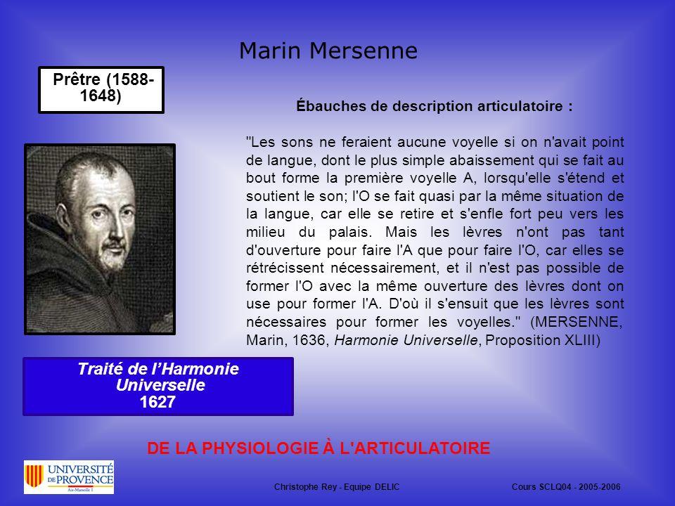 Marin Mersenne Prêtre (1588-1648) Traité de l'Harmonie Universelle