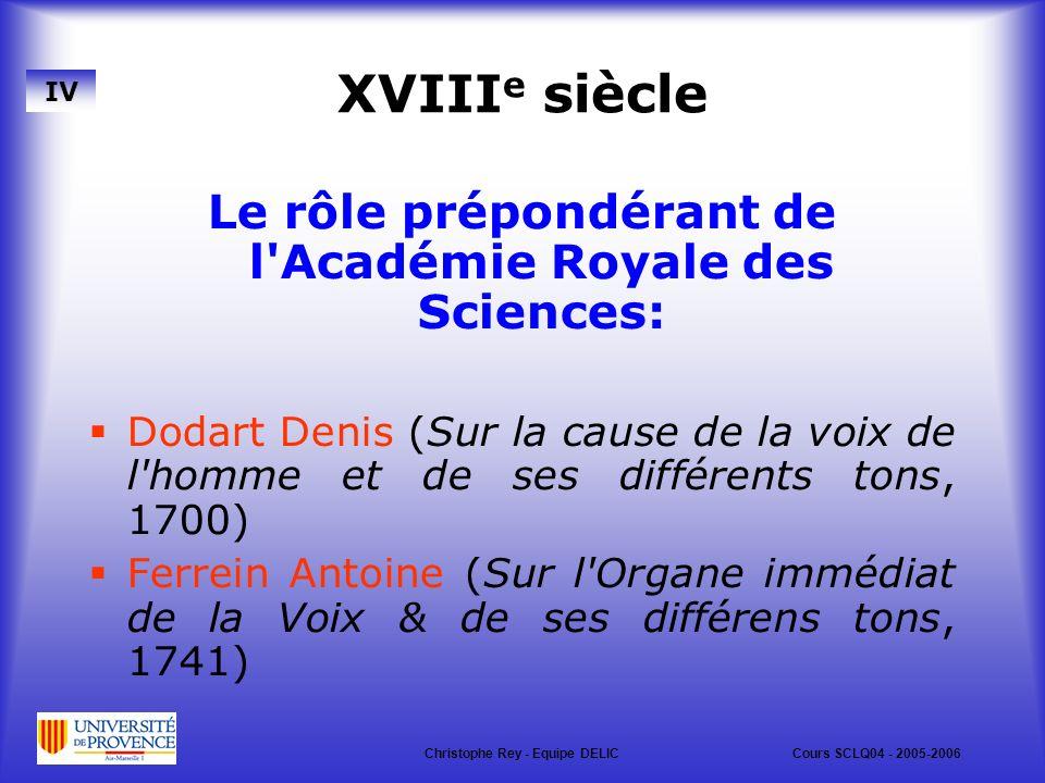 XVIIIe siècle Le rôle prépondérant de l Académie Royale des Sciences: