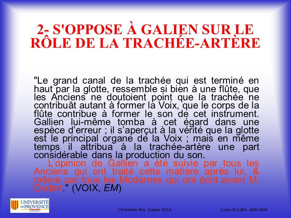 2- S OPPOSE À GALIEN SUR LE RÔLE DE LA TRACHÉE-ARTÈRE