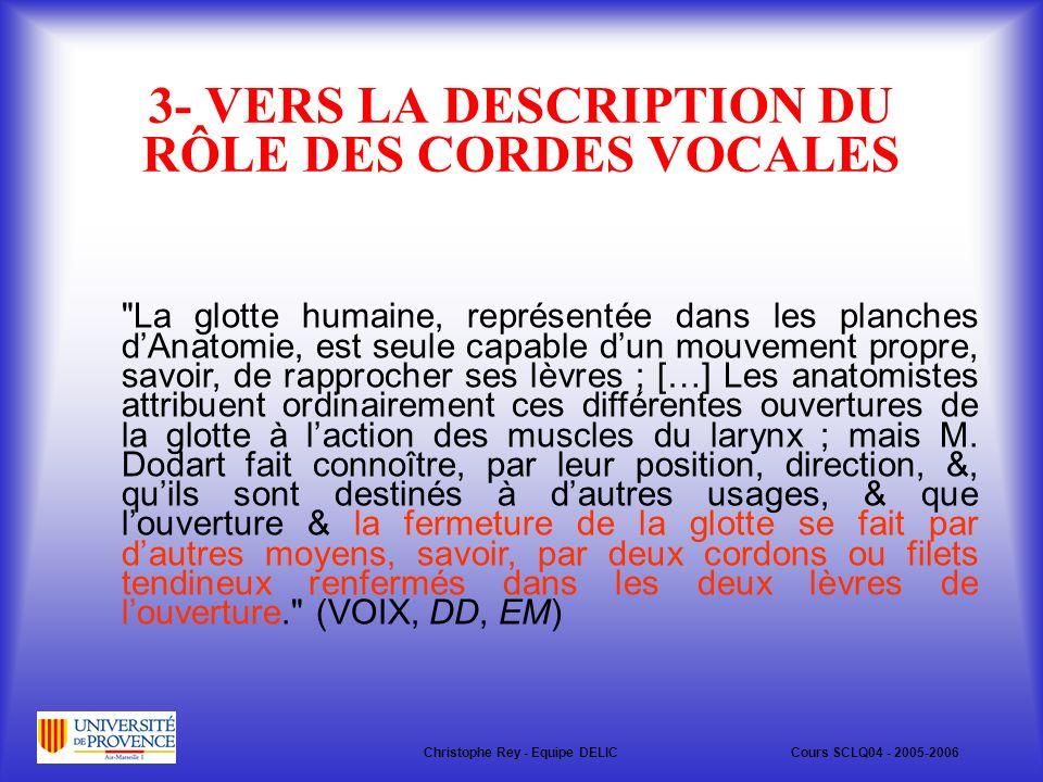 3- VERS LA DESCRIPTION DU RÔLE DES CORDES VOCALES