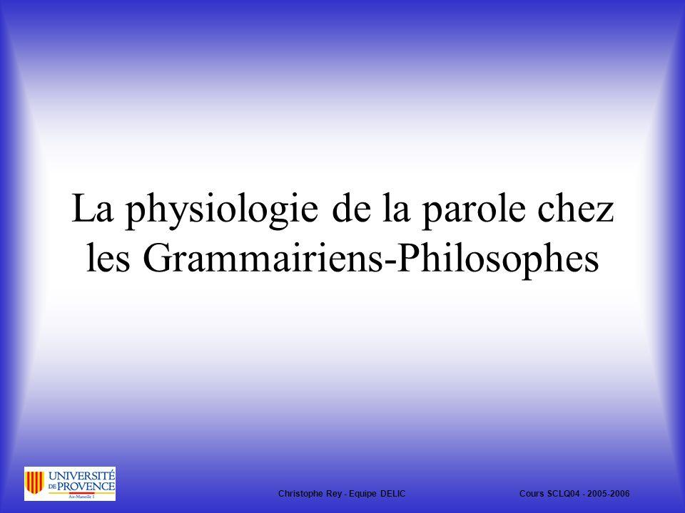 La physiologie de la parole chez les Grammairiens-Philosophes
