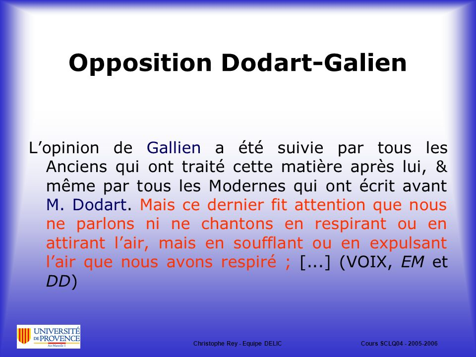 Opposition Dodart-Galien
