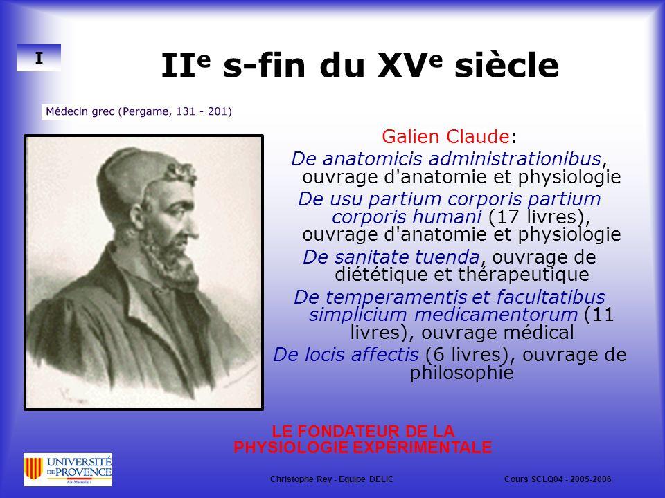 IIe s-fin du XVe siècle Galien Claude: