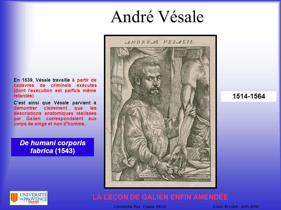 André Vésale 1514-1564 De humani corporis fabrica (1543)