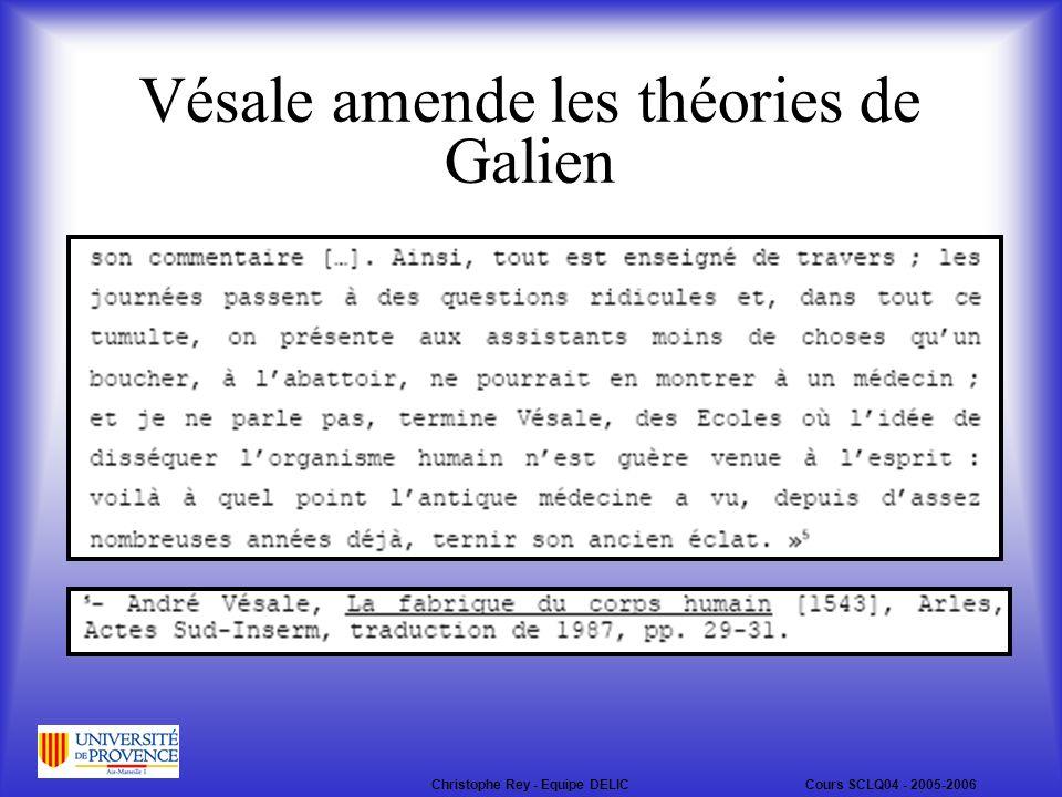 Vésale amende les théories de Galien