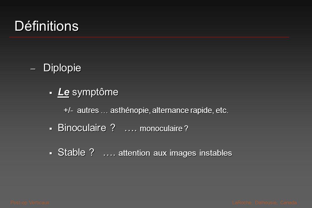 Définitions Diplopie Le symptôme Binoculaire …. monoculaire