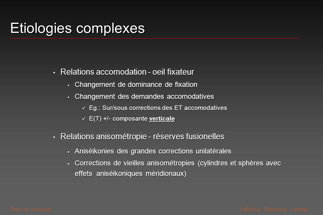 Etiologies complexes Relations accomodation - oeil fixateur