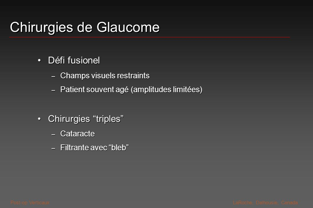 Chirurgies de Glaucome