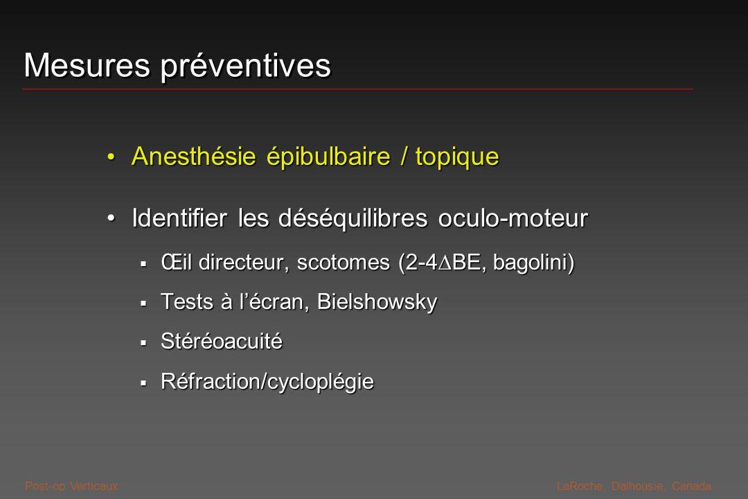 Mesures préventives Anesthésie épibulbaire / topique