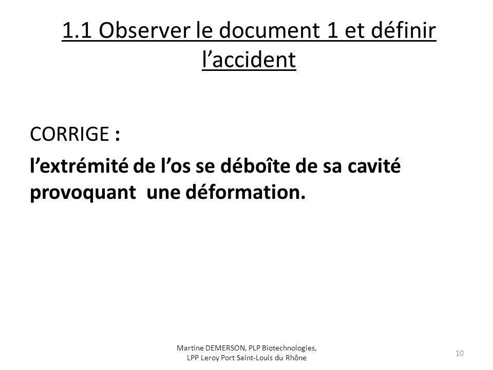 1.1 Observer le document 1 et définir l'accident