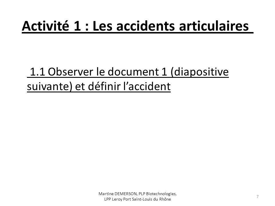 Activité 1 : Les accidents articulaires