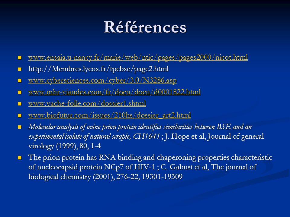 Références www.ensaia.u-nancy.fr/marie/web/ntic/pages/pages2000/nicot.html. http://Membres.lycos.fr/tpebse/page2.html.