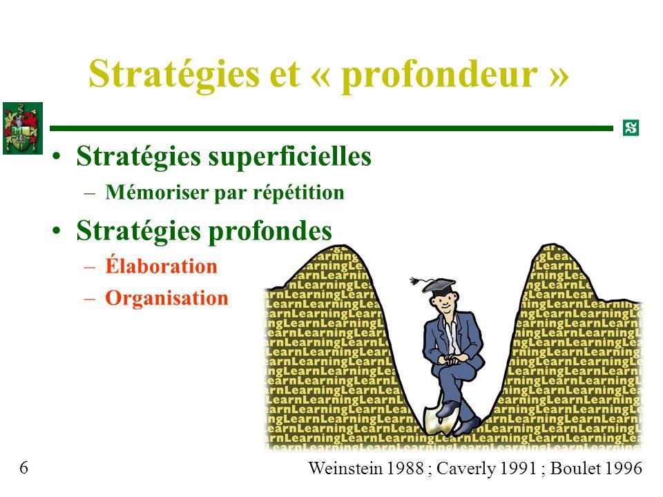 Stratégies et « profondeur »