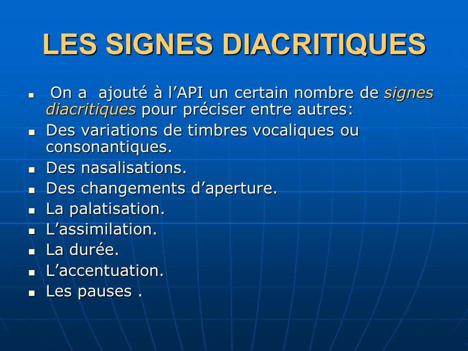 LES SIGNES DIACRITIQUES