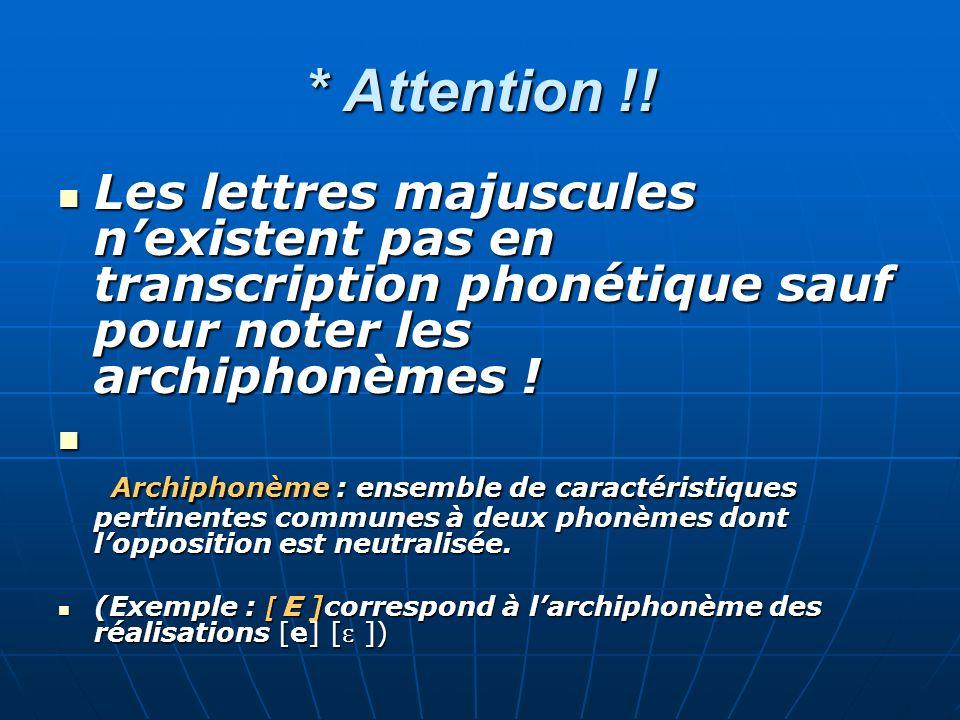 * Attention !! Les lettres majuscules n'existent pas en transcription phonétique sauf pour noter les archiphonèmes !