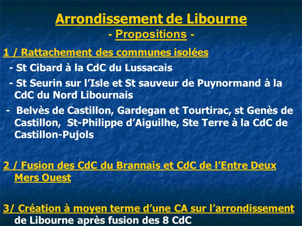 Arrondissement de Libourne - Propositions -