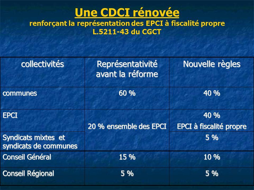 Une CDCI rénovée renforçant la représentation des EPCI à fiscalité propre L.5211-43 du CGCT