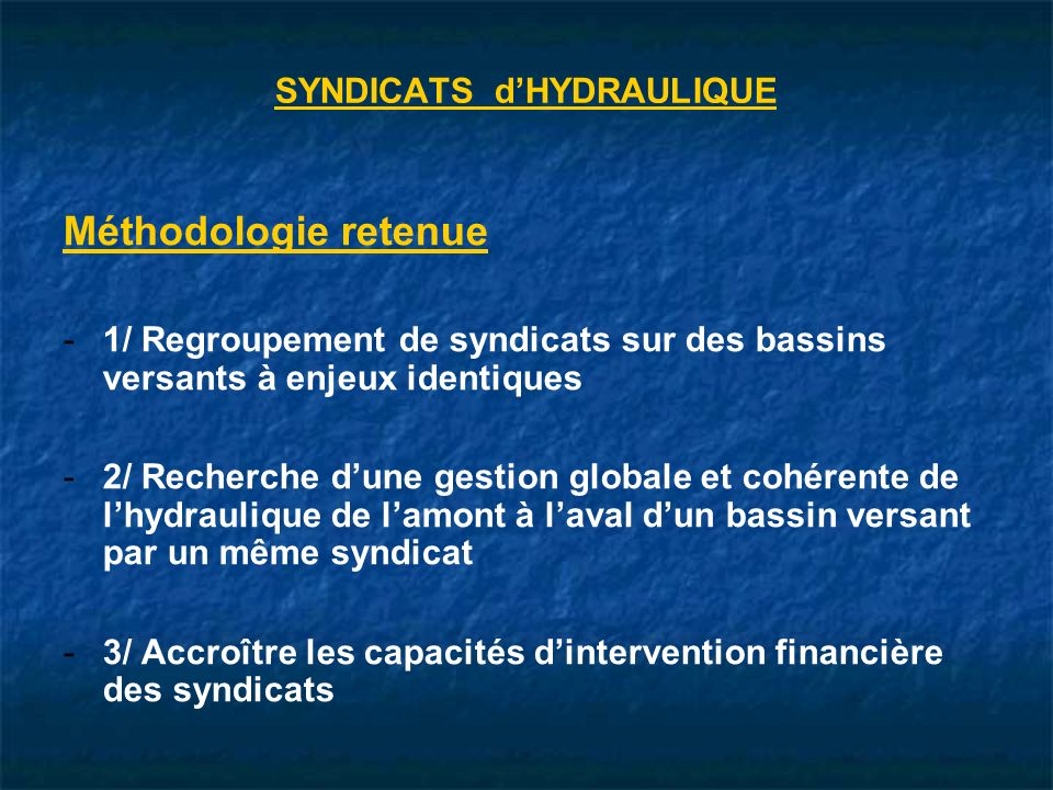 SYNDICATS d'HYDRAULIQUE