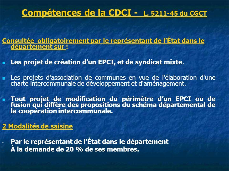 Compétences de la CDCI - L. 5211-45 du CGCT