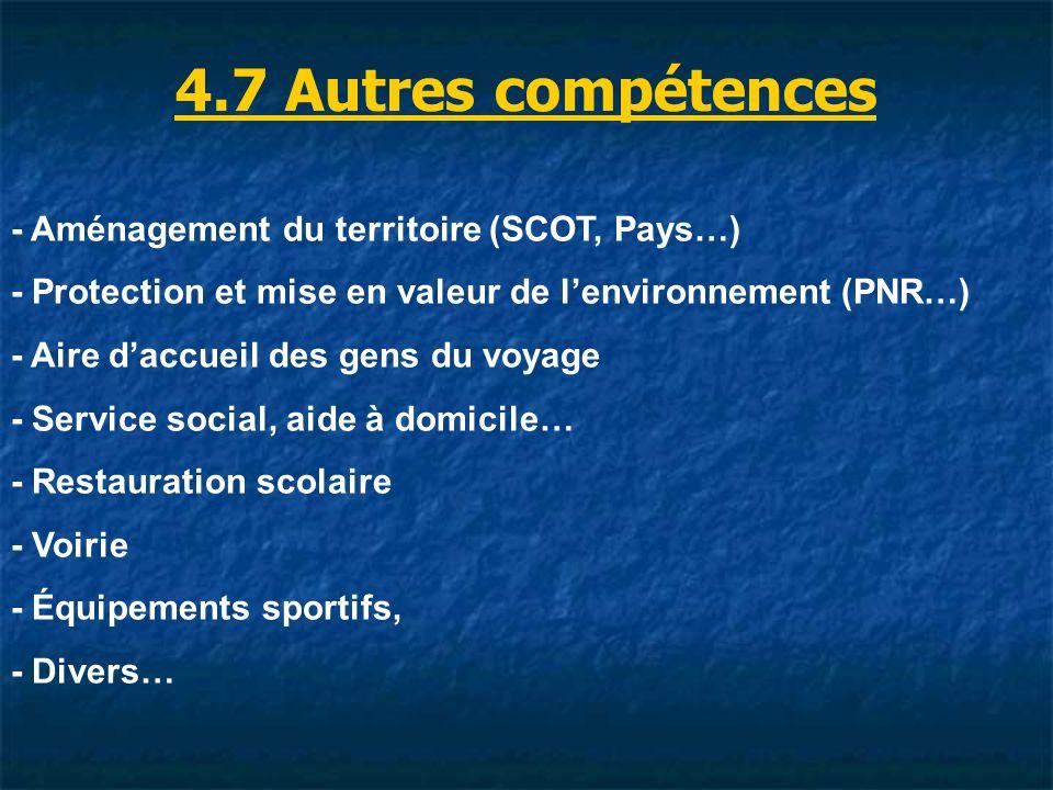 4.7 Autres compétences - Aménagement du territoire (SCOT, Pays…)