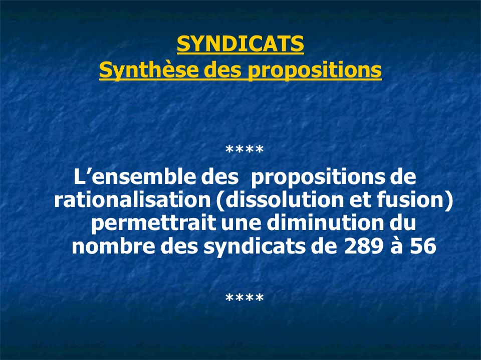 SYNDICATS Synthèse des propositions