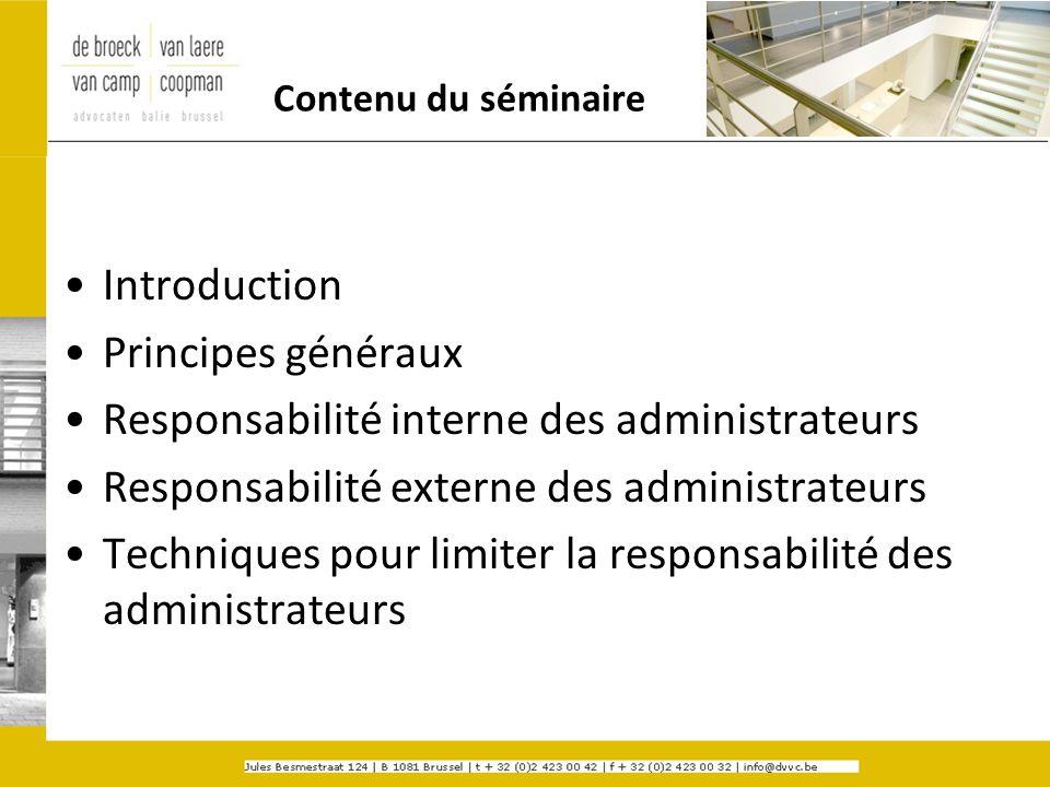Responsabilité interne des administrateurs