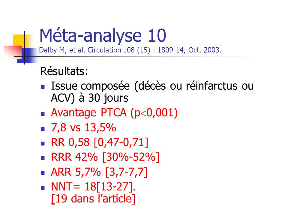 Méta-analyse 10 Dalby M, et al. Circulation 108 (15) : 1809-14, Oct