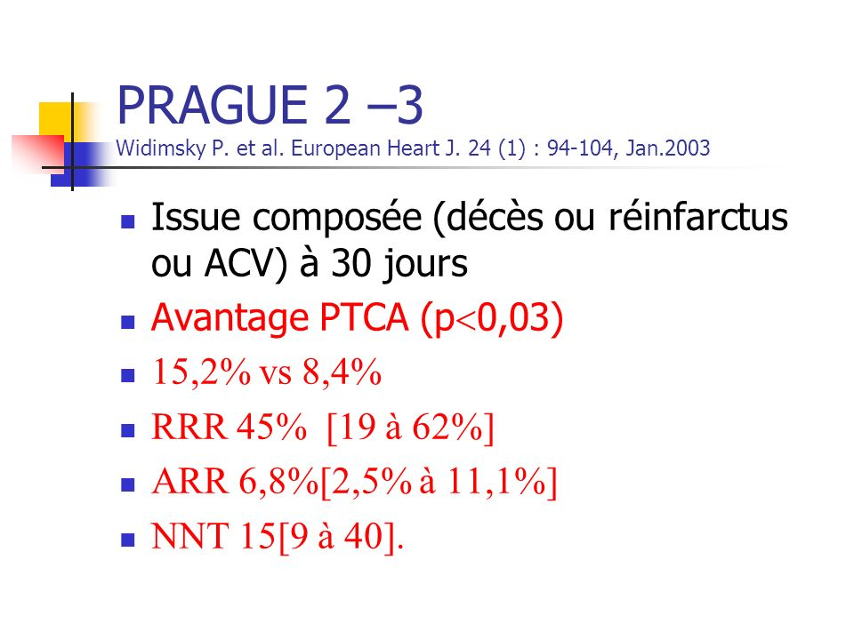 PRAGUE 2 –3 Widimsky P. et al. European Heart J. 24 (1) : 94-104, Jan