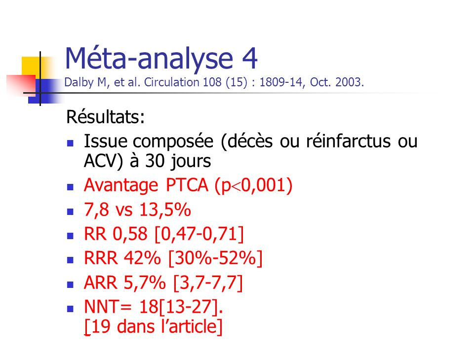 Méta-analyse 4 Dalby M, et al. Circulation 108 (15) : 1809-14, Oct