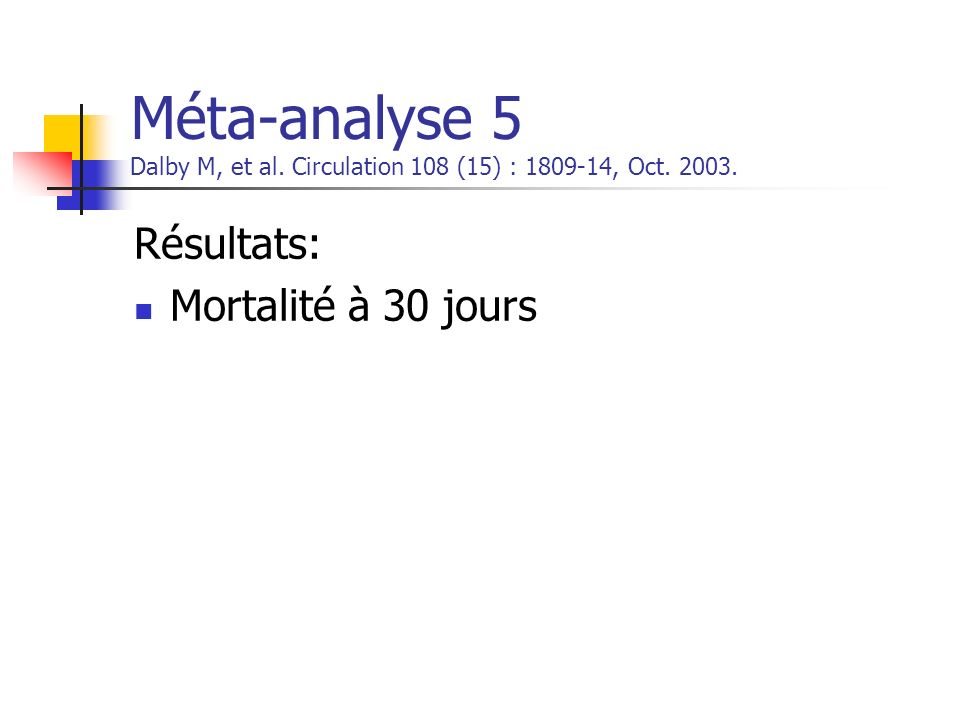 Méta-analyse 5 Dalby M, et al. Circulation 108 (15) : 1809-14, Oct