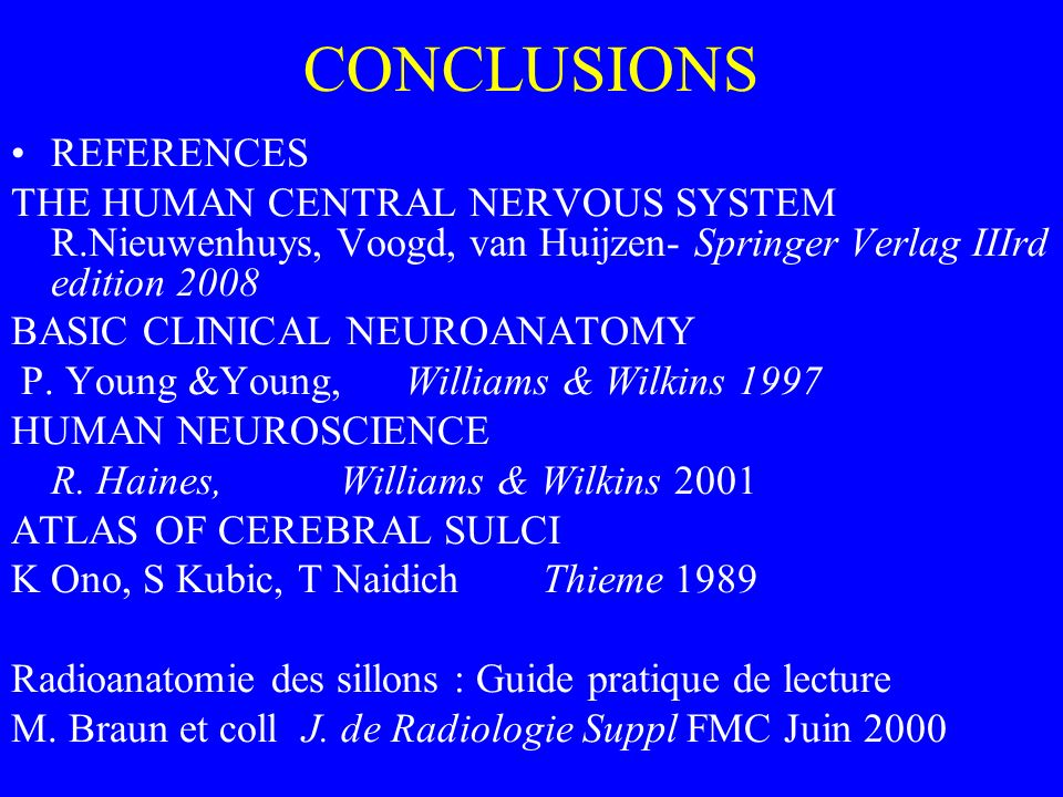 CONCLUSIONS REFERENCES