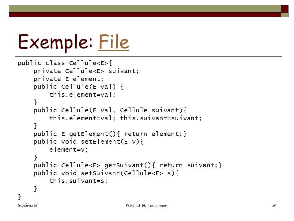 Exemple: File public class Cellule<E>{