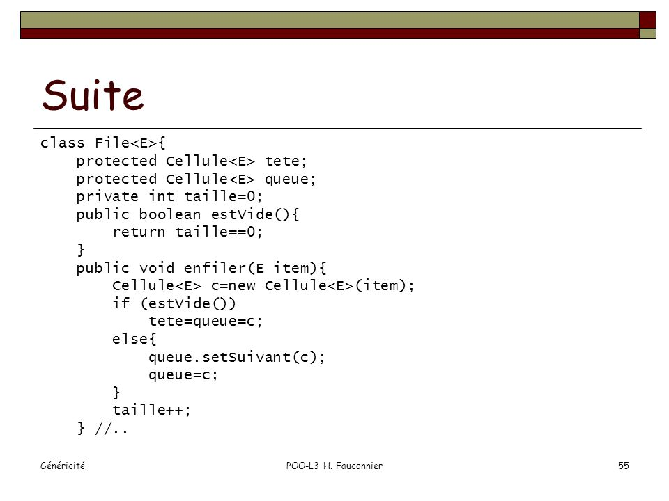 Suite class File<E>{ protected Cellule<E> tete;