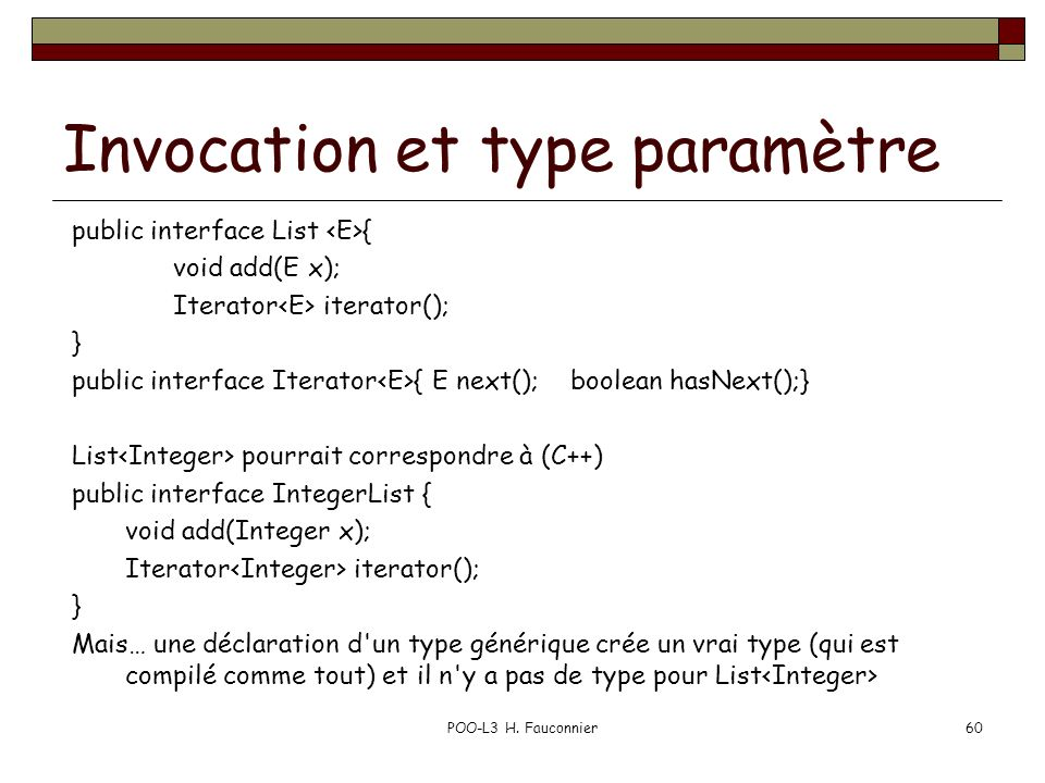 Invocation et type paramètre