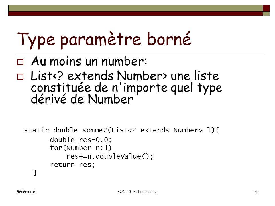 Type paramètre borné Au moins un number: