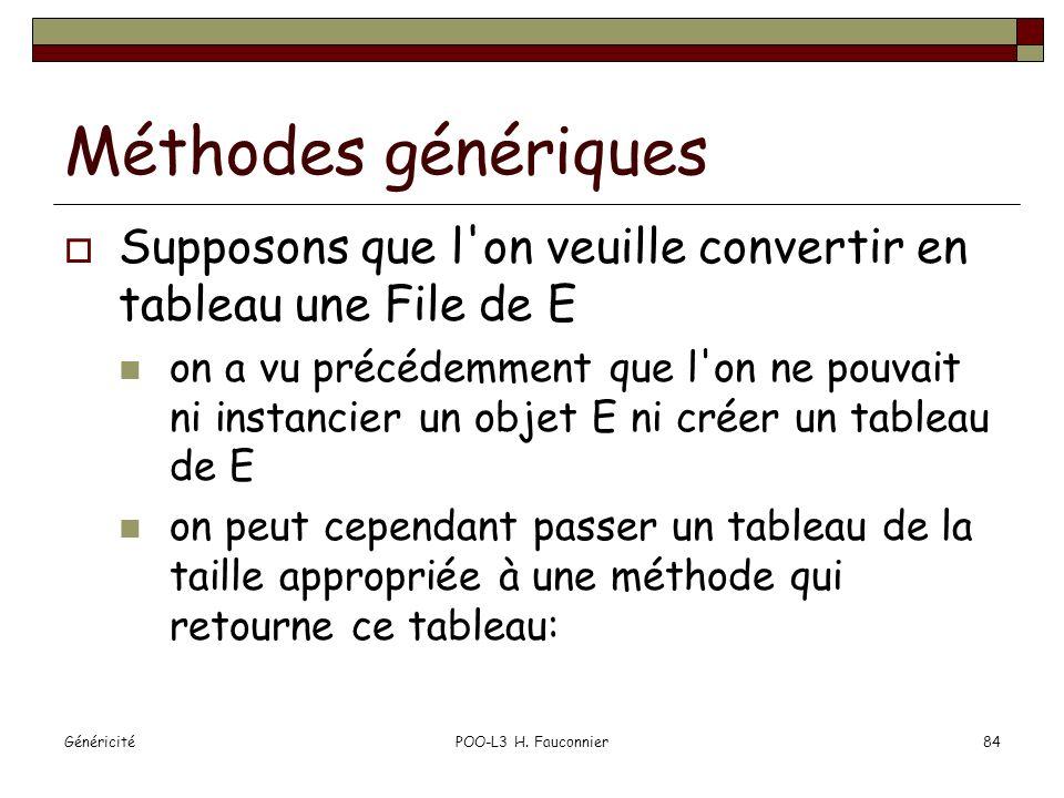 Méthodes génériques Supposons que l on veuille convertir en tableau une File de E.