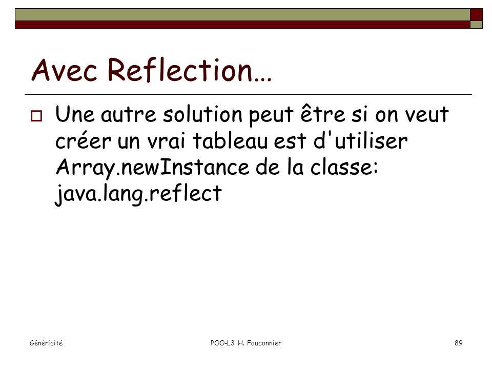 Avec Reflection… Une autre solution peut être si on veut créer un vrai tableau est d utiliser Array.newInstance de la classe: java.lang.reflect.