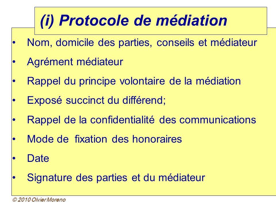 (i) Protocole de médiation