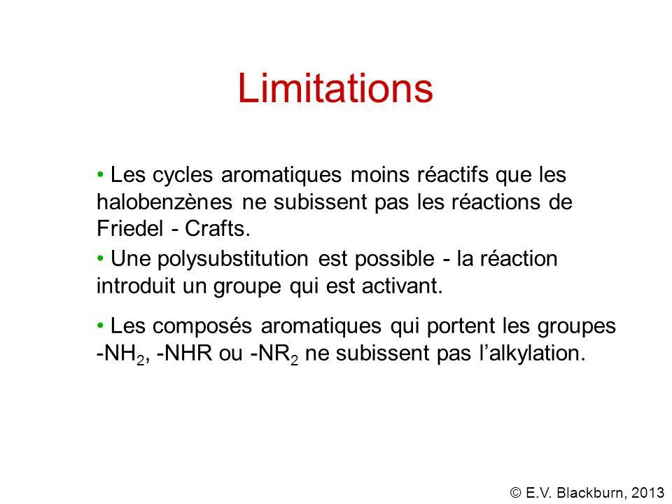 Limitations Les cycles aromatiques moins réactifs que les halobenzènes ne subissent pas les réactions de Friedel - Crafts.