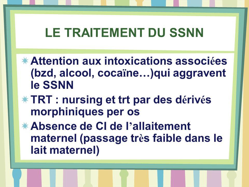LE TRAITEMENT DU SSNN Attention aux intoxications associées (bzd, alcool, cocaïne…)qui aggravent le SSNN.