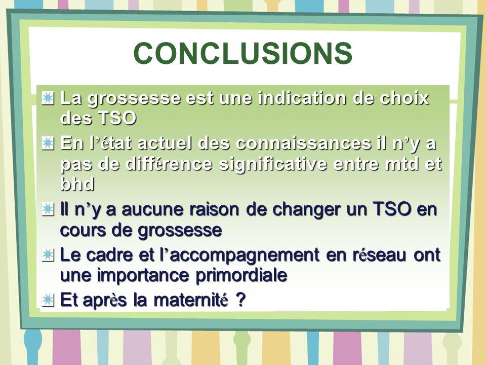 CONCLUSIONS La grossesse est une indication de choix des TSO