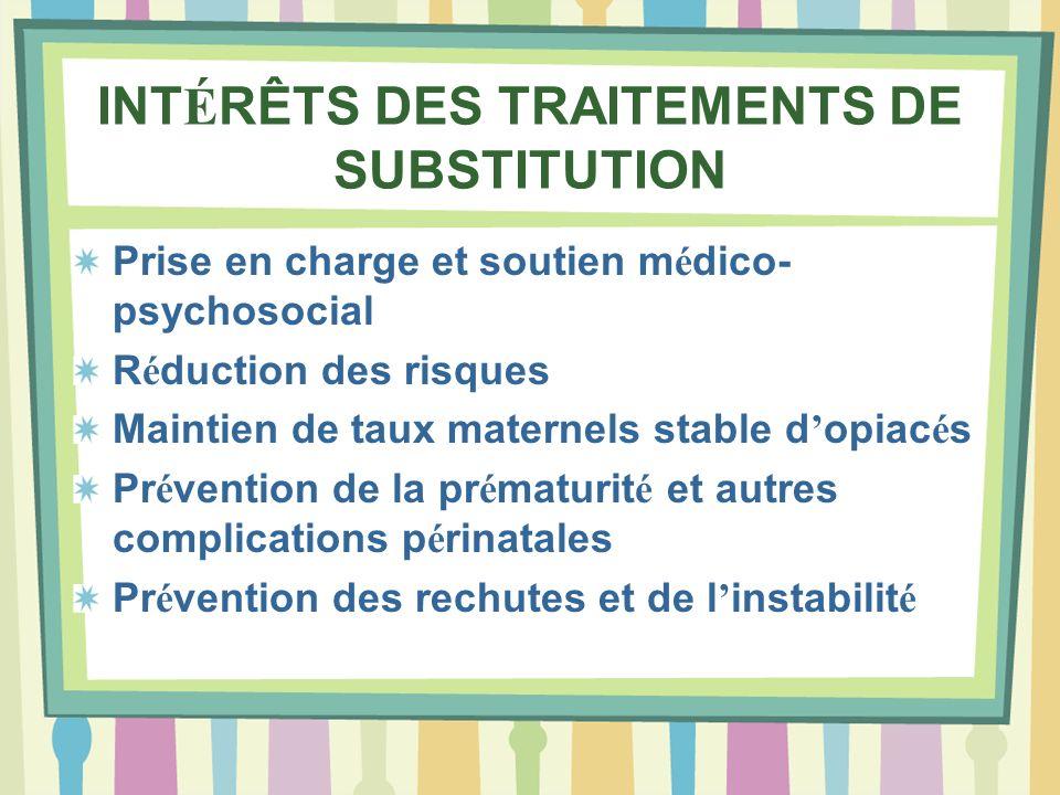 INTÉRÊTS DES TRAITEMENTS DE SUBSTITUTION