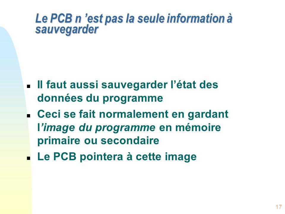 Le PCB n 'est pas la seule information à sauvegarder
