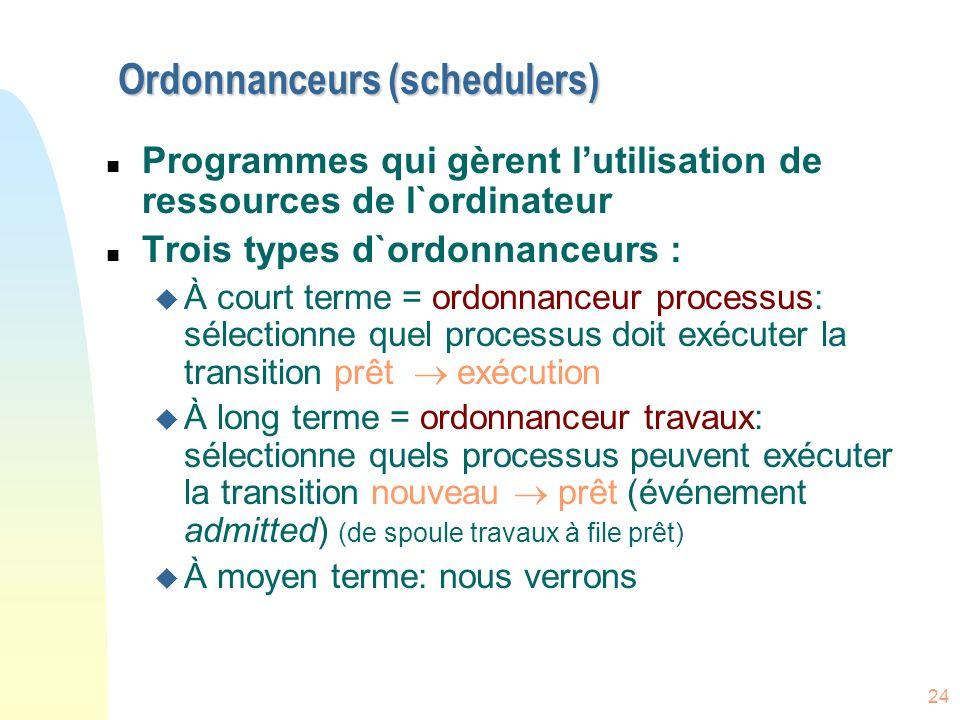 Ordonnanceurs (schedulers)